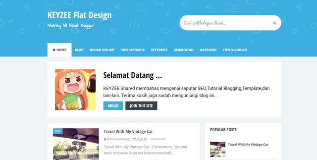 Keyzee Flat Design Responsive Blogger Templates