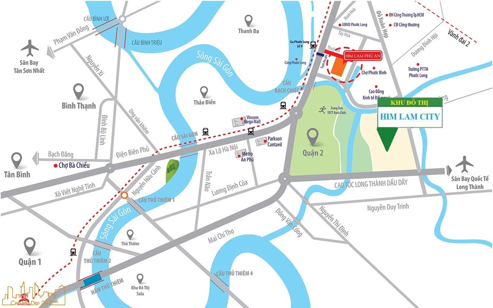 Vị trí Khu đô thị Him Lam City Quận 2