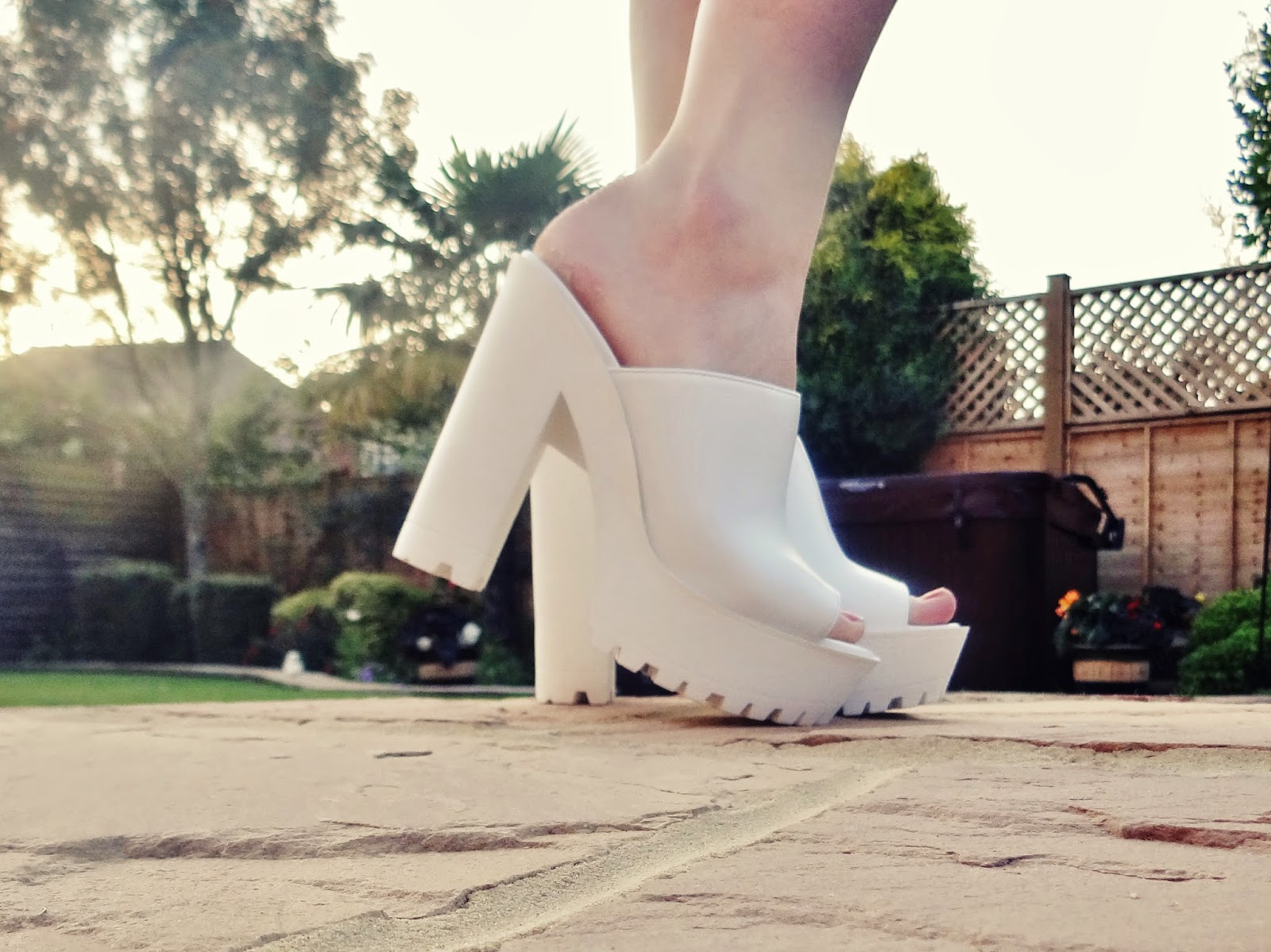 close up white chunky heels open toe new look