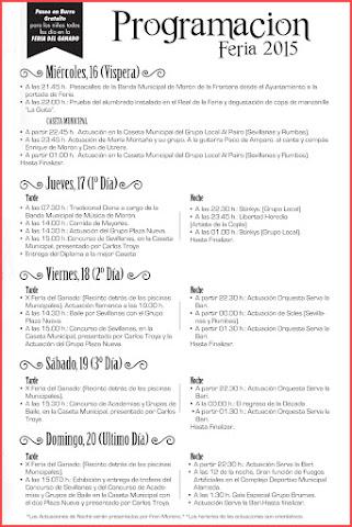 Morón de la Frontera - Feria 2015 - Programación