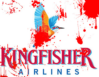 Kingfisher Airlines logo stained with the blood of the suicide of wife of employee