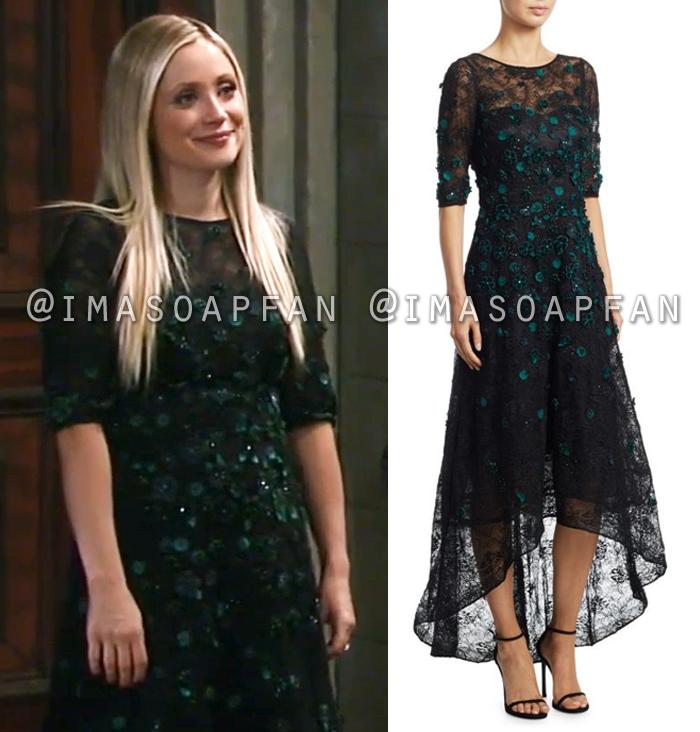 Lulu Spencer Falconeri, Emme Rylan, Black Lace and Green Velvet Flower Gown, General Hospital, GH