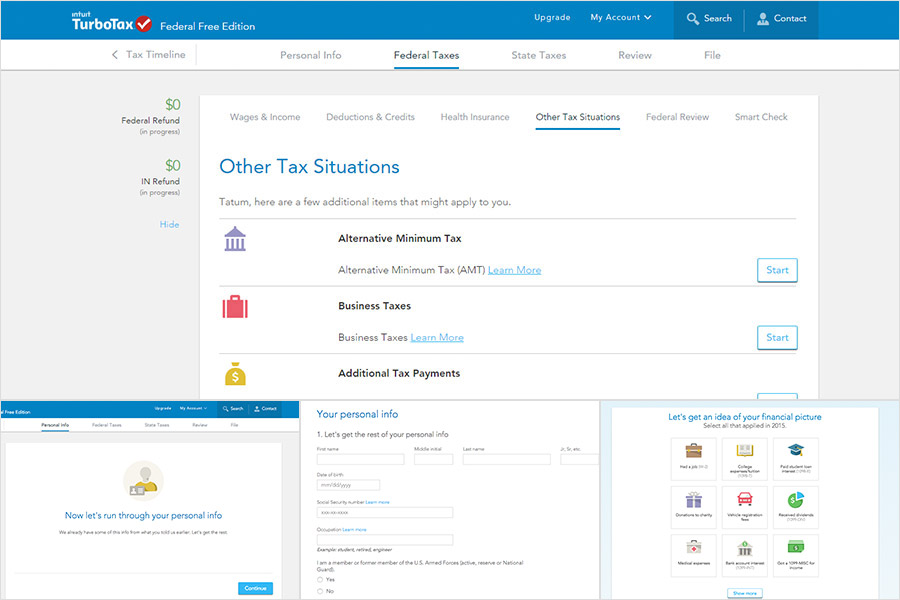 TurboTax website process screenshot