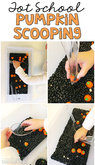 We LOVE this pumpkin scooping sensory bin. Great for Halloween in tot school, preschool, or even kindergarten!