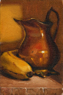 Oil painting of a banana beside a copper jug.