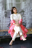 Mannara Chopra in Silky White Salwar Suit with Pink Chunni Latest Exclusive Pics March 2017 ~  018.JPG