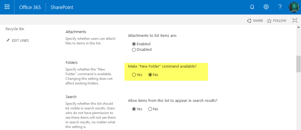 sharepoint online disable new folder