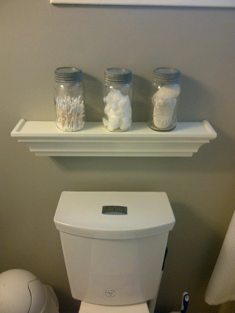 Brick Home Love Mason Jars in the Bathroom