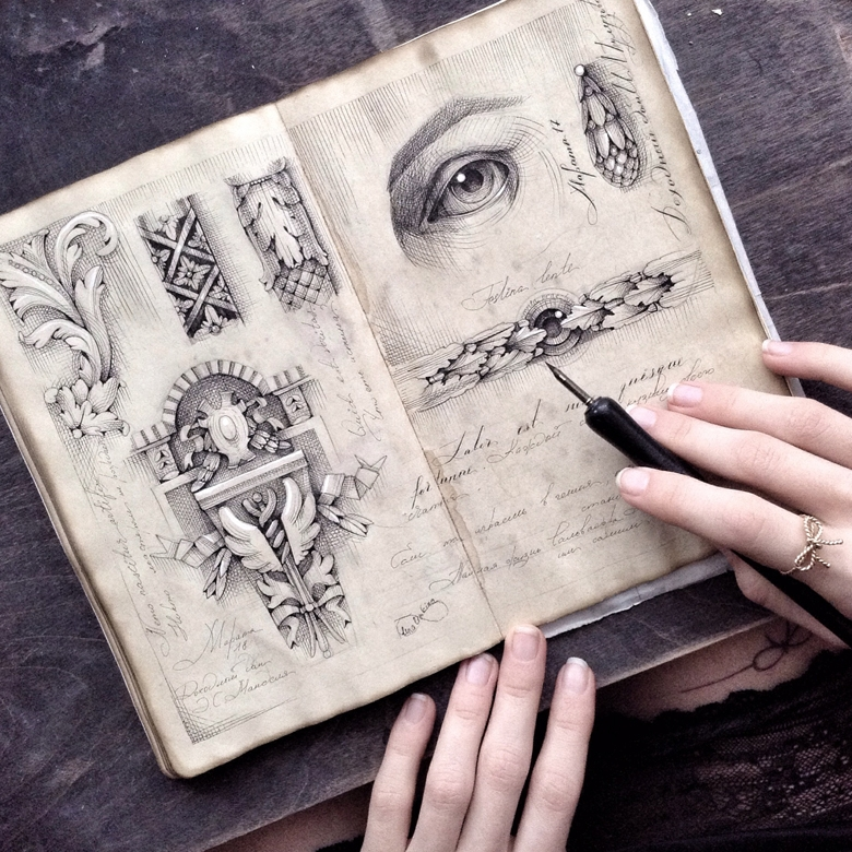 03-Elena-Limkina-Moleskine-Illustration-Adorned-with-Lovely-Calligraphy-www-designstack-co