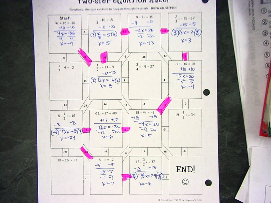 Two Step Equations Maze Worksheet Answers