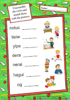 school activities unscramble letters esl worksheet