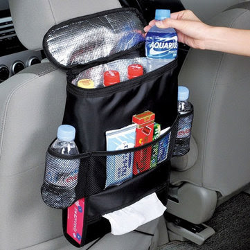 Car Seat Back Storage Bag Hot Cold Insulated Organizer Travel Hanger Pouch