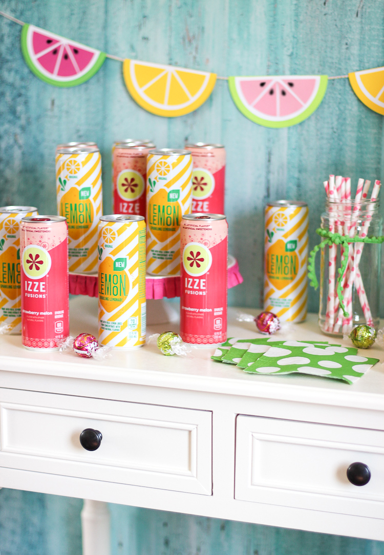 Colorful fruit party theme idea with a DIY lemonade stand