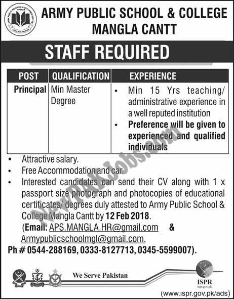 Latest Jobs in Army Public School & College, APS&C Mangla Cantt