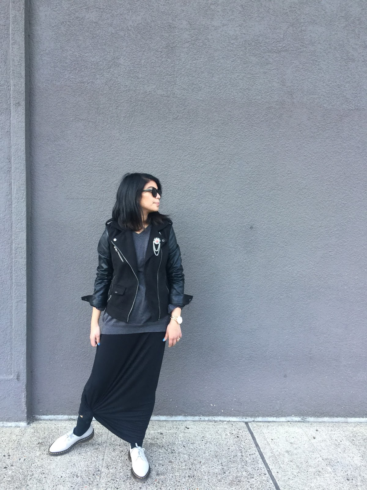 long black dress, black moto jacket, gray doc martens, dr, martens, gray v neck sweater, portland blogger, portland fashion blogger, fblogger, ootd, street style