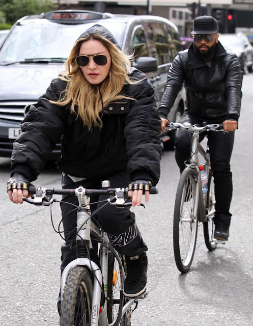 Madonna on a bicycle in the street of London