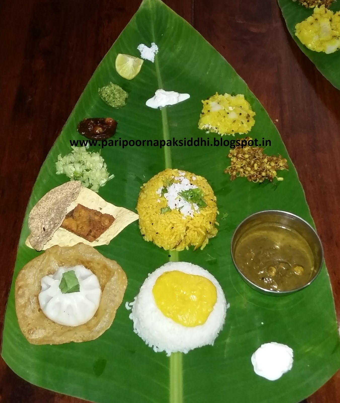 Paripoorna paksiddhi how to serve maharashtrian meal on a banana leaf each food has its specific designated position on the leaf plate and thats also the sequence that is followed even for re serves forumfinder Choice Image