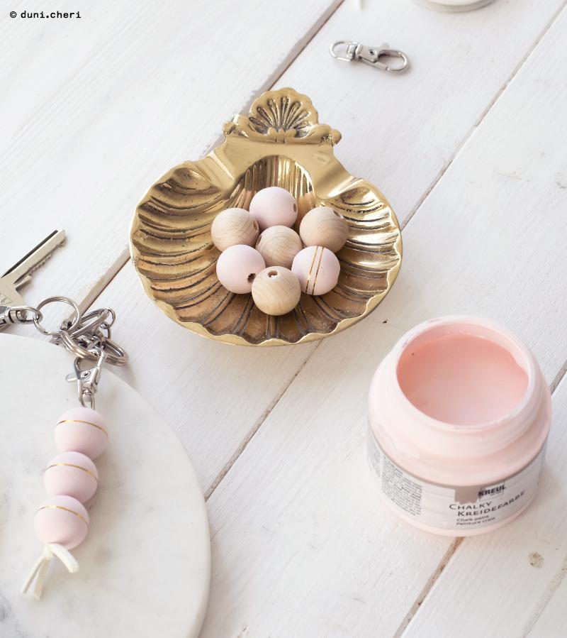goldene Muschel Deko holzkugeln DIY idee rosa gold