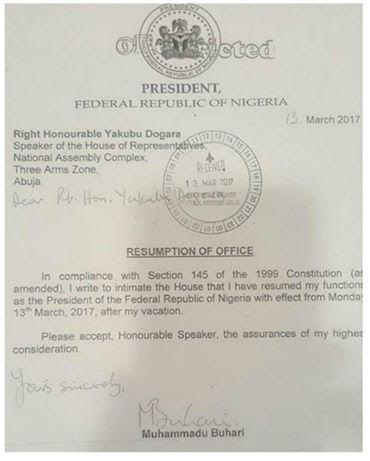 Photos house of representatives speaker yakubu dogara receives president buhari sent in the letter to notify the lawmakers of his resumption to work after his long medical vacation see a copy of the letter after the thecheapjerseys Choice Image
