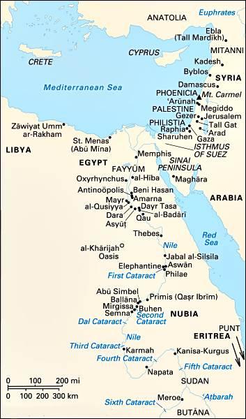 Sitios asociados con Egipto desde Predinástico a tiempos bizantinos.