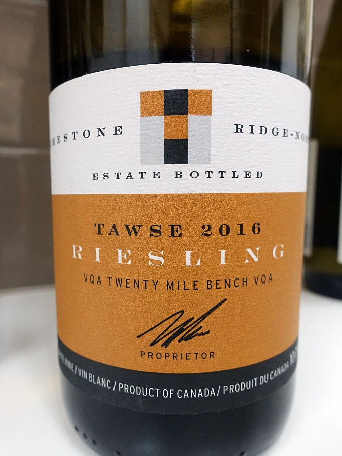Tawse Limestone Ridge-North Estate Bottled Riesling 2016 (91 pts)
