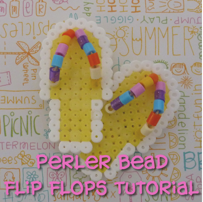 Completed cool shoe flip flop design made with fused Perler Hama beads - fun summer craft DIY tutorial
