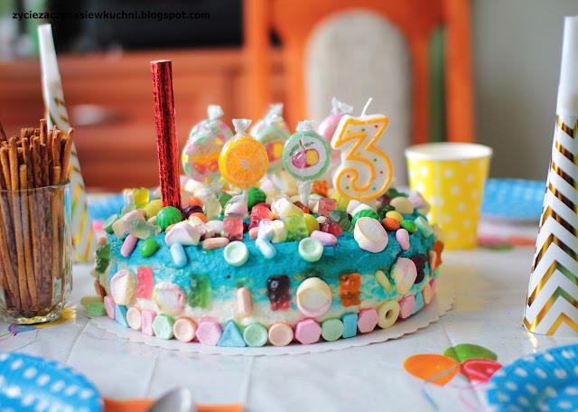 Cukierkowy tort -  3 urodziny Jasia