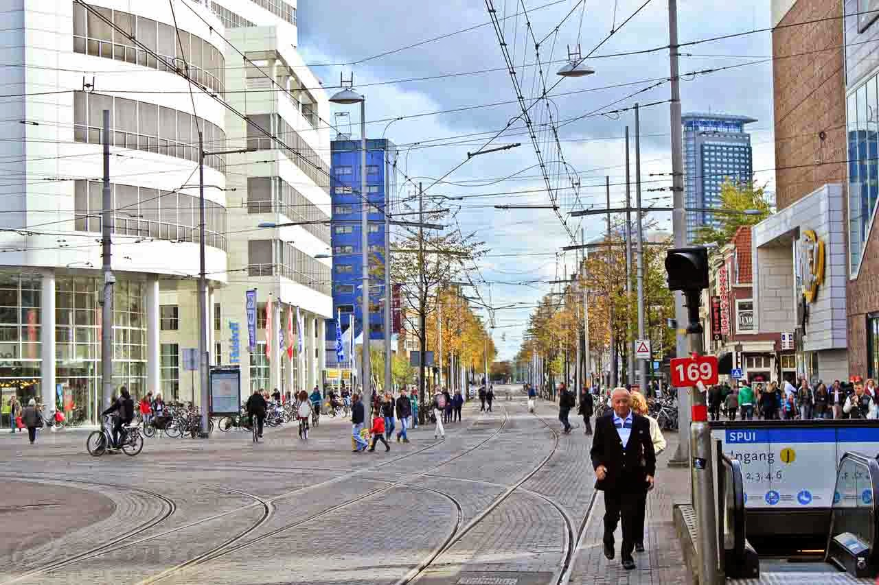 Streets of Hague with Tram lines all around