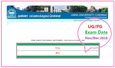 Anna University Time Table Nov/Dec 2018