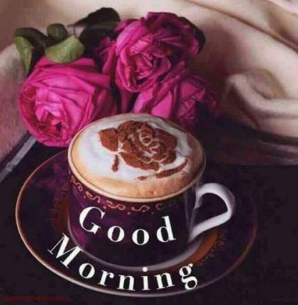 Beautifull good morning coffee images with rose