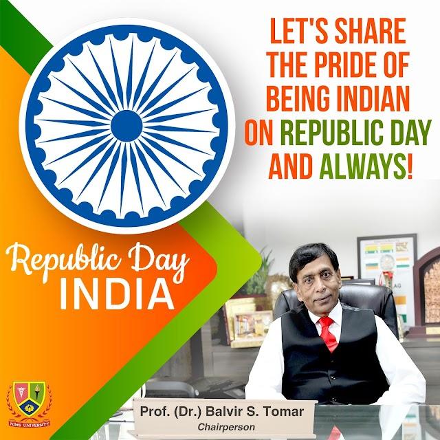 Republic Day Greetings : Prof. (Dr.) Balvir S. Tomar