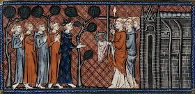 """Από ÎµÎ¹ÎºÎ¿Î½Î¿Î³Ï Î±Ï†Î®Î¼ÎÎ½Î¿ γαλλικό Ï‡ÎµÎ¹Ï ÏŒÎ³Ï Î±Ï†Î¿ Ï""""Î¿Ï… μέσου Ï""""Î¿Ï… 14Î¿Ï… αιώνα. Ο Λουδοβίκος Θ' , βασιλιάς της Γαλλίας, Ï€Î±Ï Î±Î»Î±Î¼Î²Î¬Î½ÎµÎ¹ ανυπόδητος, τον Ακάνθινο Στέφανο και τα άλλα λείψανα Ï""""Î¿Ï… Τιμίου Πάθους Ï""""Î¿Ï… Î§Ï Î¹ÏƒÏ""""Î¿Ï , που Î²Ï Î¯ÏƒÎºÎ¿Î½Ï""""αν Î¼ÎÏ‡Ï Î¹ τότε στην εκκλησία """"Θεοτόκος Ï""""Î¿Ï… Î¦Î¬Ï Î¿Ï…"""" στην ΚωνσÏ""""ανÏ""""Î¹Î½Î¿Ï Ï€Î¿Î»Î·."""
