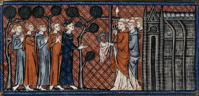 """Από εικονογραφήμένο γαλλικό χειρόγραφο του μέσου του 14ου αιώνα. Ο Λουδοβίκος Θ' , βασιλιάς της Γαλλίας, παραλαμβάνει ανυπόδητος, τον Ακάνθινο Στέφανο και τα άλλα λείψανα του Τιμίου Πάθους του Χριστού, που βρίσκονταν μέχρι τότε στην εκκλησία """"Θεοτόκος του Φάρου"""" στην Κωνσταντινούπολη."""