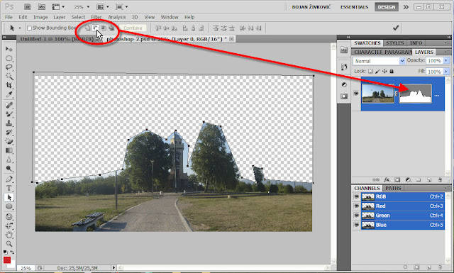 Step to invert vector mask: click on subtract from shape area icon