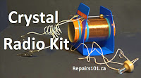assembled 1975 crystal radio kit