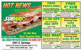 free Subway coupons march 2017