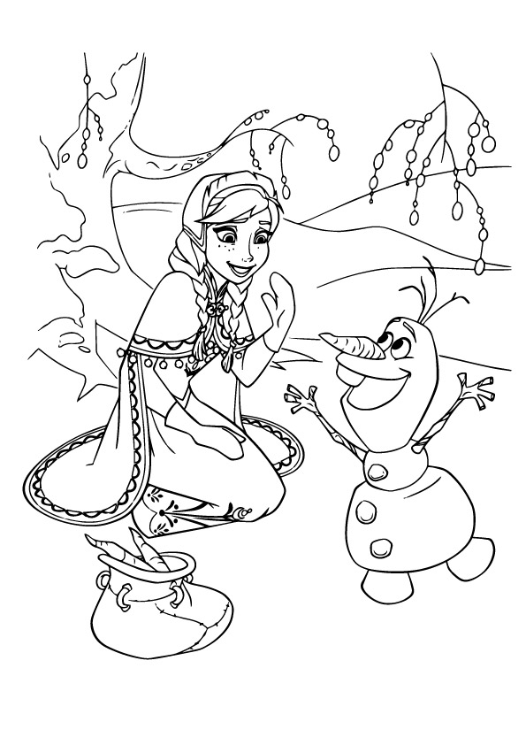 Click to see printable version of Anna And Olaf Smilling Coloring page