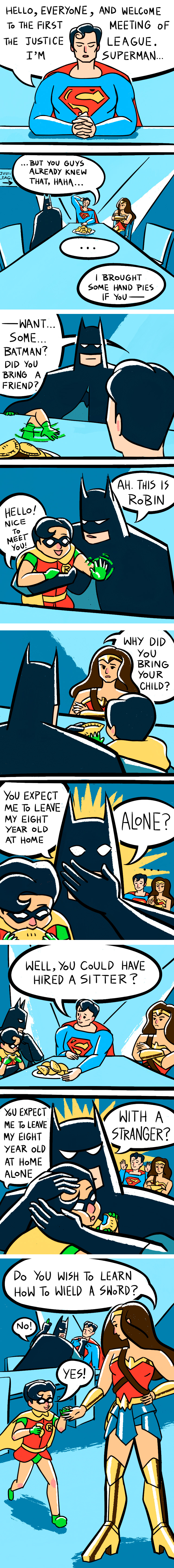 When Alfred is not there, Batman has to take care of Robin
