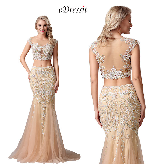 Capped Sleeves Two-piece Beaded Beige Evening Dress