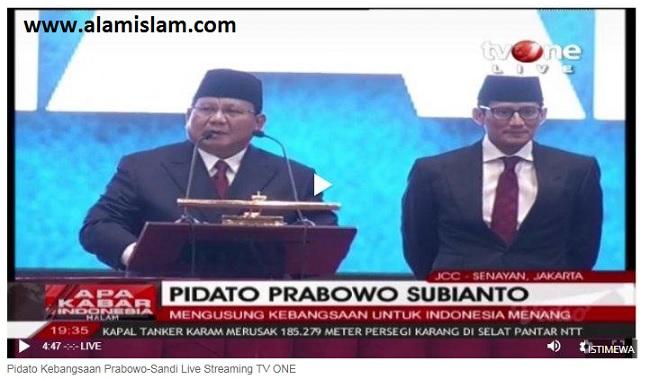 Stasiun TV One dipuji netizen karena siarkan pidato Prabowo Sandi