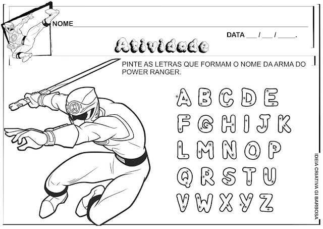 Atividade Power Ranger Letras do  Alfabeto para Colorir