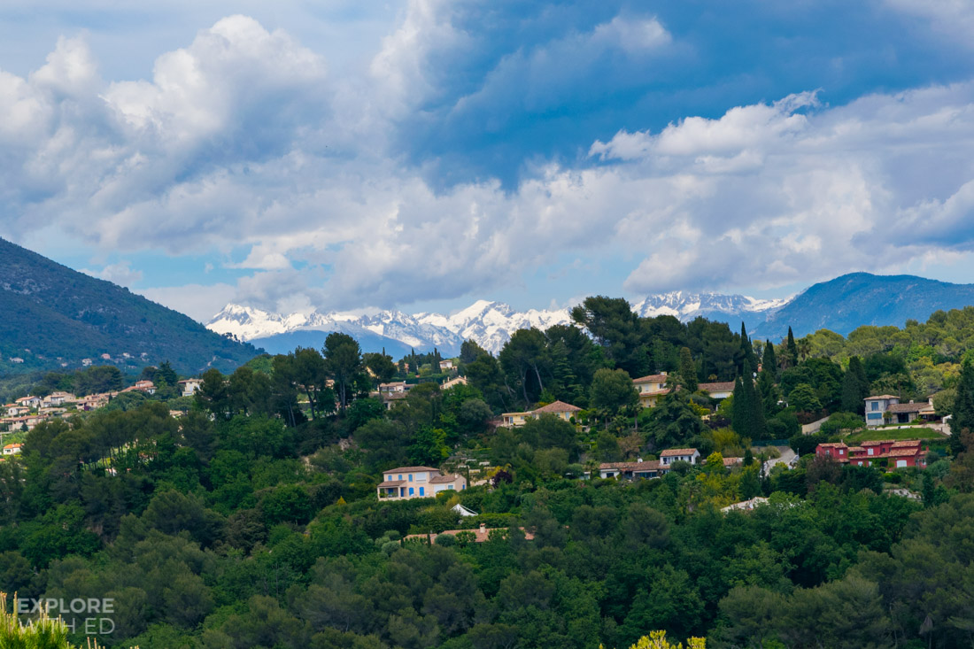 Snowy Alps viewed from Saint Paul, Alpes Maritimes