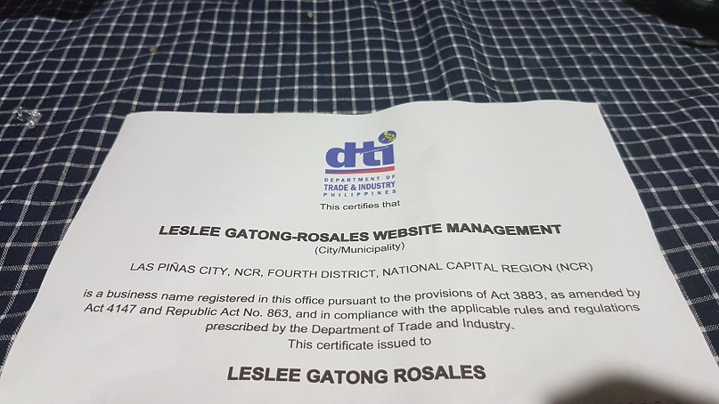 photo of DTI Certificate