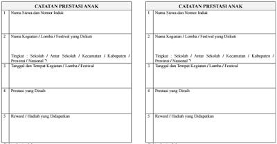 Format Buku Prestasi Anak PAUD/ TK/ RA/ KB/ TPA