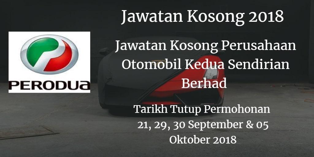 Jawatan Kosong Perodua 21, 29, 30 September, 05 Oktober 2018