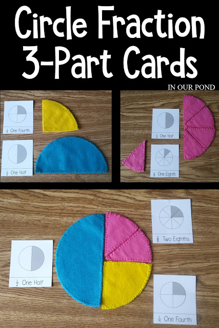 Fraction 3-part Cards for Elementary Math from In Our Pond  #math #elementary #fractions #freeprintable #homeschool #school #teacher #circlefractions #felt