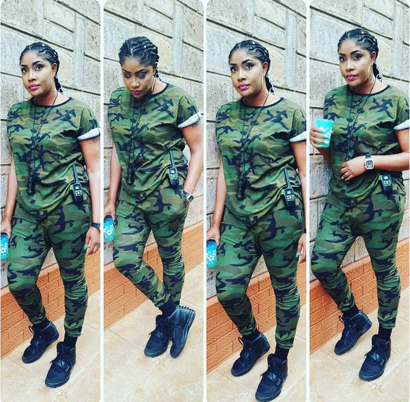 Nollywood Actress Angela Okorie Steps Out In Full Military Camouflage