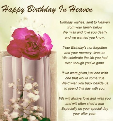 Happy Birthday In Heaven Images Quotes Poems For Friend Brother Sister Daughter Son