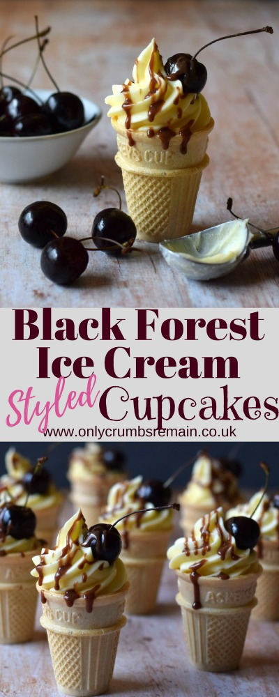 Fun cupcakes, styled as an ice cream with the flavours of a Black Forest Gateau.  Chocolate sponge with a hint of kirsch and a few dried cherries fill the ice cream cones.  They're finished with a generous swirl of buttercream frosting and a fresh cherry and a drizzle of chocolate!