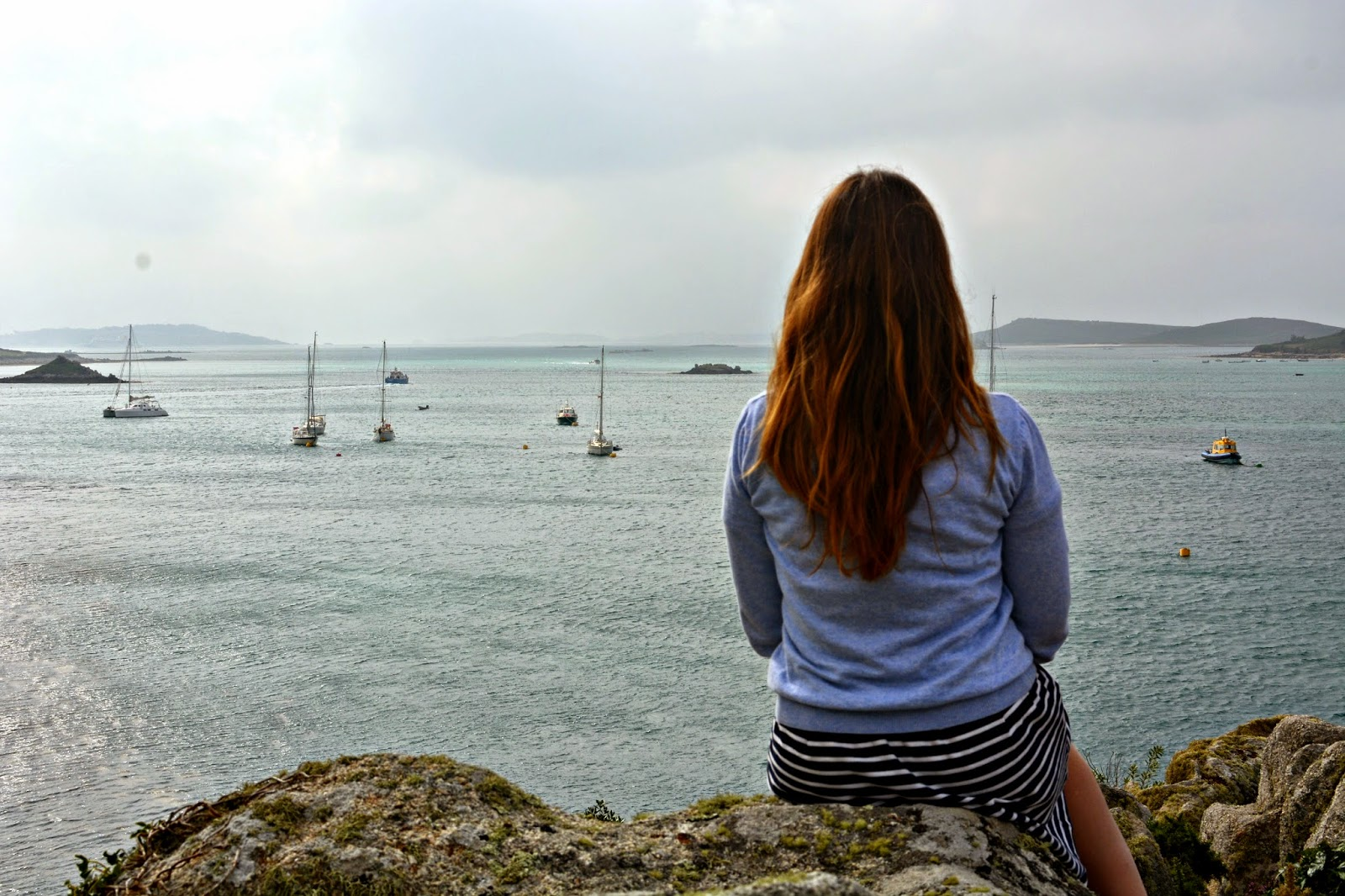 Looking out over Tresco and Bryher sound with boats in distance